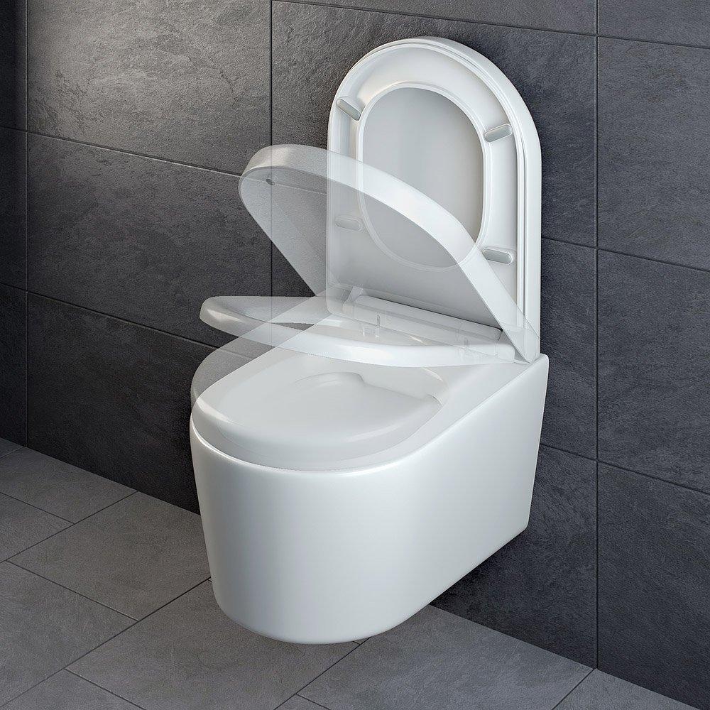 ADOB WC Sitz mit Absenkautomatik zur Reinigung abnehmbar sp/ülrandlose wandh/ängende WC Keramik Toilette weiss inkl 28013