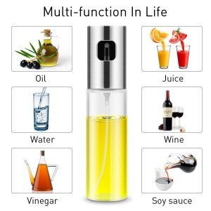 Die Sprühflasche für Öl von Magicfun besteht aus Glas und Edelstahl.