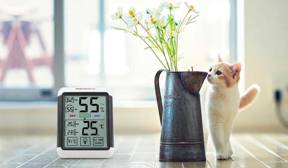 Messgerät für die Luftfeuchtigkeit im Test.